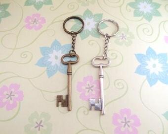 Bronze or Silver Skeleton Key Keychain - Ready to Ship