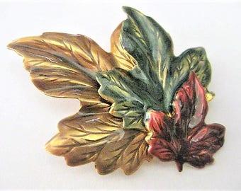 Vintage Jewelry ~ Fall  Leaves  Pin  Brooch   Enameled