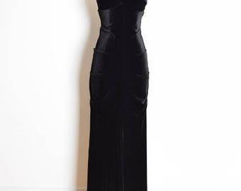 vintage 90s dress, 90s prom dress, 90s gown, black velvet dress, strapless dress, ruched dress, long dress, black dress, 90s clothing, S M