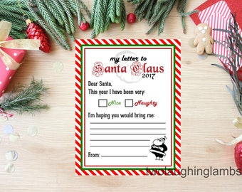 Instant 'letter to Santa' 2017 Printable DIY Nice or Naughty Checklist with Wishlist Christmas Holiday Child Letter to Santa