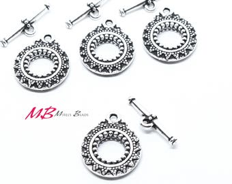 High Quality Large Bali Antique Silver Plated Toggle Clasps, 27mm 2 Sets