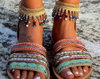 "Handmade leather sandals, Boho sandals, Greek leather sandals, ""Jamelia"""