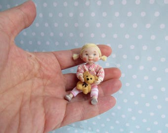 Reserved ---- OOAK miniature doll Girl TODDLER . 1:12 Dollhouse miniature doll POSEABLE. Polymer clay Handsculpt art doll. Artist Doll