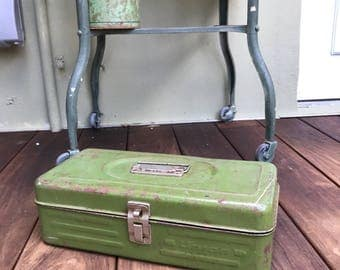Metal toolbox avocado green industrial union