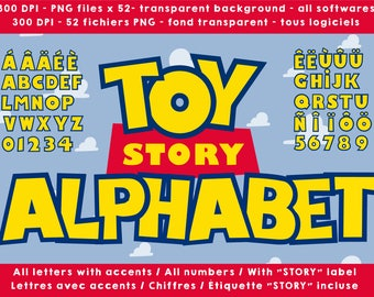 Toy Story alphabet, letters numbers 300 dpi png cliparts images transparent background