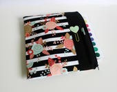 Gold Floral Planner Pouch, Happy Planner Cover,  Passion Planner Case, Planner Accessory, Planner Sleeve, Fits Erin Condren Planners, BUJO