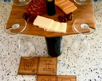 Last Minute Christmas Gift for Wine Lovers - Bamboo Wine and Cheese Board and Scrabble Coaster Set for a Happy Holiday
