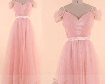 Bridesmaid Dress Blush Lace Tulle Prom Dress Long,Spaghetti Strap Off Shoulder Wedding Dress,A-line Prom Dress With Ruched Top,Party Dress