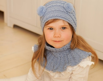 KNITTING PATTERN caterpillar cable headband and cowl set with pom-poms Carson (toddler, child, adult sizes)