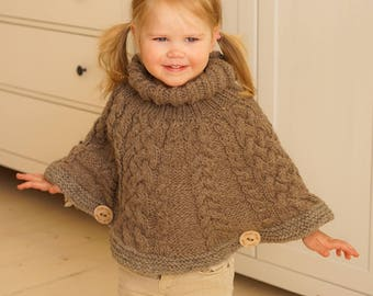 KNITTING PATTERN chunky cable cape poncho Verona (toddler, kids sizes)