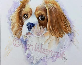 Custom pet portrait custom dog portrait. Original watercolor pen & ink painting Hand made to order. Dog art original watercolor watercolour