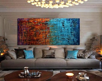 Jackson Pollock style Drip Art Painting extra large Abstract paintings Red abstract art Modern Wall Artwork oversize art canvas painting