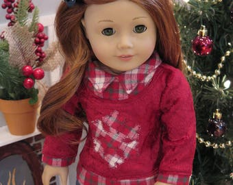Newly Released! 18 Inch Doll Christmas Top - Red Velvet Sweater Top  - Modern Winter Holiday Doll Clothes - American Made Girl Doll Clothes