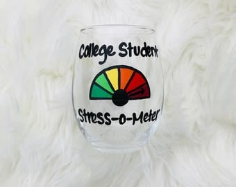 College Student hand painted stemless wine glass