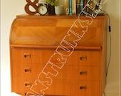 vintage bureau teak writing table desk mid century danish design roll top made in Sweden