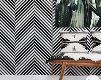 Scandi Boho Style Removable Wallpaper Herringbone Pattern Traditional Or Self Adhesive