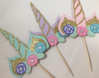Unicorn Cupcake Toppers - Set of 12 | Unicorn Horn | Unicorn Party | Unicorn Birthday