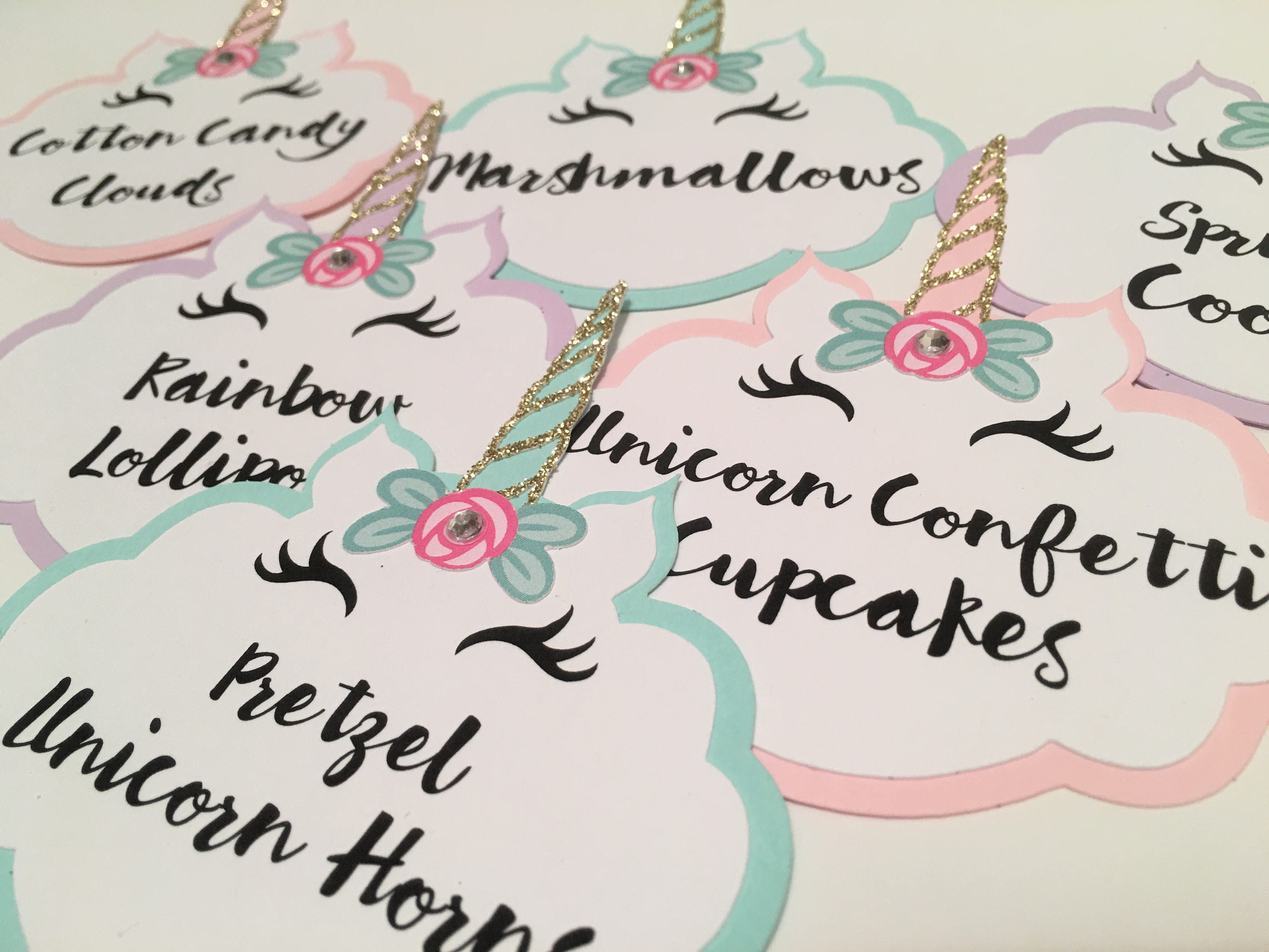 unicorn party food labels set of 6 food labels candy