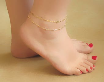 Gold Lace Anklet - Layered Gold Anklet - Ankle Bracelets , Foot Jewelry , Gold Ankle Bracelet , Anklet Jewelry  , Anklet Bracelet