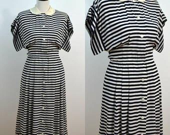 1980s Albert Nipon Silk Striped Dress / Peter Pan Collar Midi Dress / Small S / Medium M / Wide Sleeves / Sailor Dress / Designer Dress