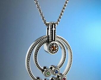 "Grandmother Birthstone ""Faith"" Cross Necklace, Children's Birthstone Necklace, Family Jewelry, Mothers Necklace, Custom Made"