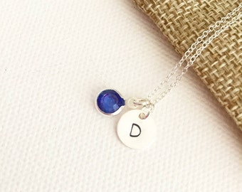 September birthstone, initial necklace, birthstone necklace, sterling silver, personalised gift, birthday gift, gift for her, gift for women