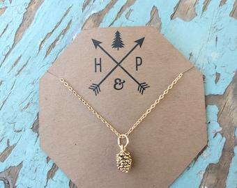 16kt Gold Plated Pinecone Charm Necklace - 17 inch Minimalist Necklace - Boho Beach Jewelry
