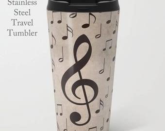 Music Travel Tumbler-Music Note Mug-Music Notes Tumbler-Stainless Steel Mug-Insulated Coffee Mug-15 oz Mug-Insulated Travel Mug-Metal Mug