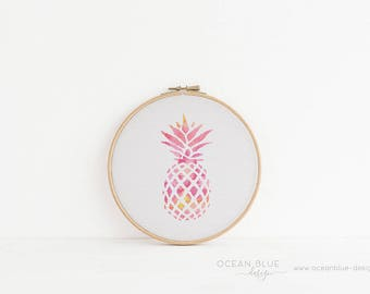 Cross Stitch Pattern, Pineapple, Pink, Orange, Tangerine, Palm Beach, Counted Cross Stitch, Embroidery, PDF, ePattern, Instant Download