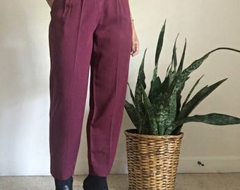 vimtage xs wool high waisted pleated tapered leg trousers