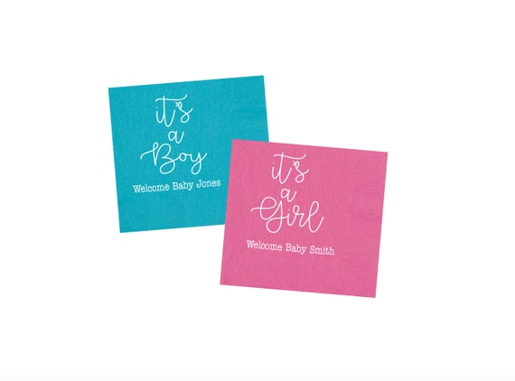 baby shower napkins, baby shower decor, personalized napkins, custom napkins, gender reveal napkins, it's a boy, it's a girl, monogrammed