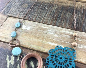 Sea Foam Stone and Wood Statement Necklace
