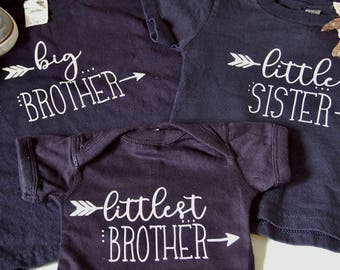 Navy Sibling shirts set of 3- big little littlest- brother sister- children's shirt onesie- family photos- baby announcement outfits