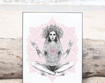 Gypsy girl in a meditation