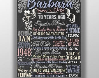70th birthday board, 70 years old birthday gift idea, 1948 birthday gift or centerpiece, great sign for a 70th birthday party, born in 1948