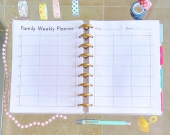 Happy Planner FAMILY WEEKLY Planner Printable 7x9.25 Inserts Undated Week At A Glance, Mambi inserts Made to Fit Erin Condren Life Planner