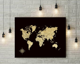 Canvas Push Pin Map | Foam Board World Map | Travel Map | Gift For Boyfriend | Birthday Gift | Valentines Day Gift | Wedding Gift - 37477