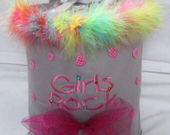 Girls Rock Tote Bag,  Girls Party Bag, School Bag, Bags and purses, Girls Tote Bag, Ballerina tote bag, Flower Girl Gift, Dance Bag, bags,