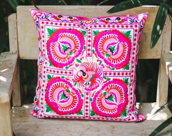 Peony Fair Trade Pillow Cover, Hmong Hill Tribe Embroidered Pillow Cover, Decorative Pillow Cover from Thailand, Gift for Boho - CS101WHIPE