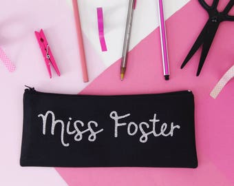 Personalised Pencil Case - Teacher / End of Year Gift - Cotton - Natural / Black/ Gold Glitter / Silver Glitter