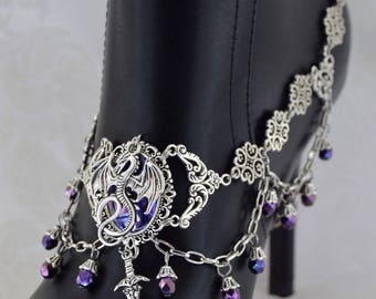 Dragon Boot Jewelry | Dragon Charmer | Boot Chain, Medieval Jewelry, Dragon Jewelry, statement jewelry, Purple Dragon, Large Jewelry for her