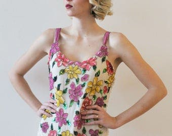 Vintage 1980s Floral Beaded Party Dress