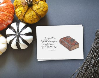i put a spell on you hocus pocus greeting card // fall greeting card// happy halloween card// greeting card friend // witches spell book