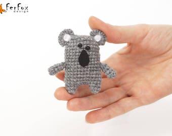 Koala brooch Koala pin Animal jewelry Crochet jewellery Children jewelry Wildlife jewelry Funny brooch Wildlife animal pin Australian animal
