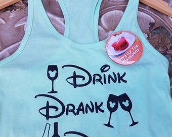 GLITTER Drink, Drank, Drunk Shirt-Epcot Food and Wine Festival Drinking Shirt- Disney Vacation Shirt- Food and Wine Tank-mint