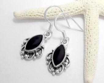 925 Sterling Silver Black Onyx Gemstone Earrings