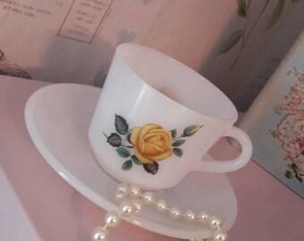 Retro Phoenix opalware teacup, milk glass teacup and matching saucer, similar to Pyrex, yellow rose vintage tea cup, 1960's tableware.