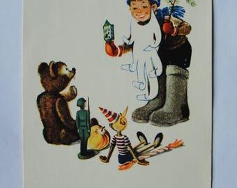 Happy New Year! Artist E. Pozdnev - Used Vintage Soviet Postcard, 1965. Boy Toys Buratino Pinocchio Christmas Print
