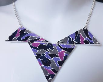 Geometric 80s Pattern Bib Necklace, Statement, One off, Unique