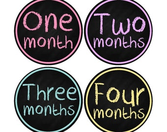 Monthly Stickers, Milestone Stickers, Baby Month Stickers, Chalk, , Monthly Baby Sticker, Baby Shower Gifts, Baby Month Sticker Girl, G63